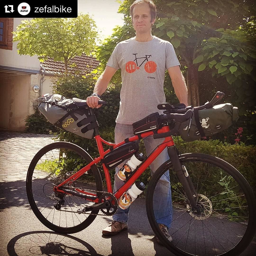 Matthieu #happycustomer and @zefalbike CEO, is ready for #BTR2017 by @chilkootcdp a 1220 km unsupported bike journey.  #gravelbike #caminadebikes